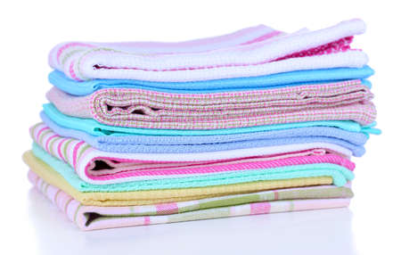 Kitchen towels isolated on white photo