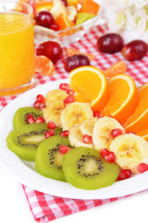 Sweet fresh fruits on plate on table close-up Stock Photo - 25317911