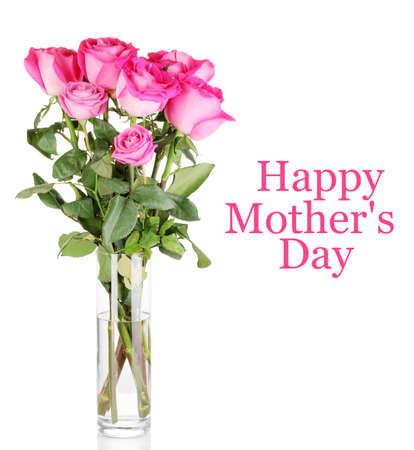 rosas rosadas: Hermosas rosas de color rosa en el florero aislado en blanco