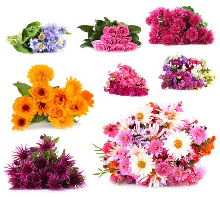bunch of: Flower bouquets isolated on white