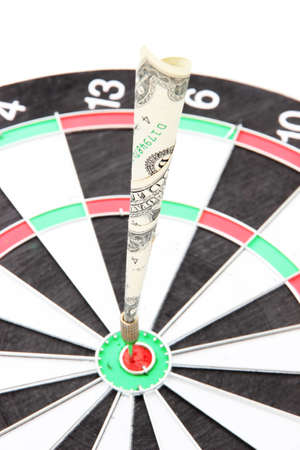 Money dart and target close up. Concept of success. photo