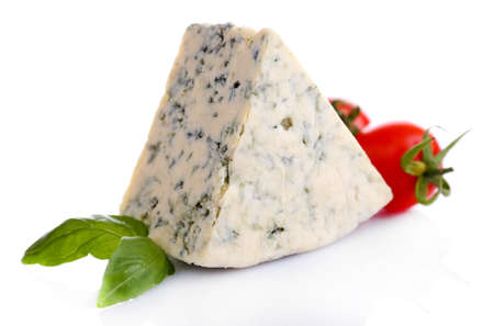 chees: Tasty blue cheese with basil and tomato, isolated on white