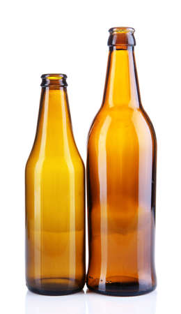 Glass bottles isolated on white photo