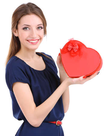 Attractive woman with box in form of  heart, isolated on white photo