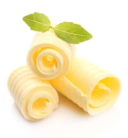バジル、白で隔離される新鮮なバターのカール 写真素材
