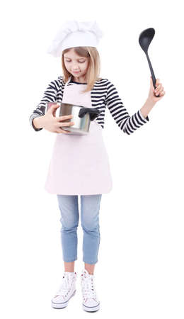 Beautiful little girl holding kitchen spoon and pan isolated on white
