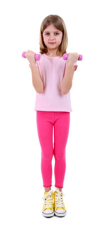leggings: Beautiful little girl doing exercises isolated on white Stock Photo
