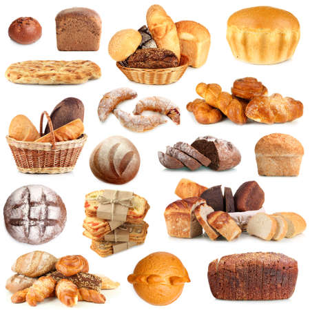 bakery products: Collage of various bread isolated on white