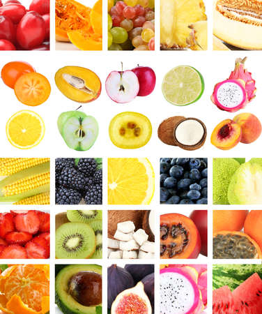 Collage of fresh fruits and berries photo
