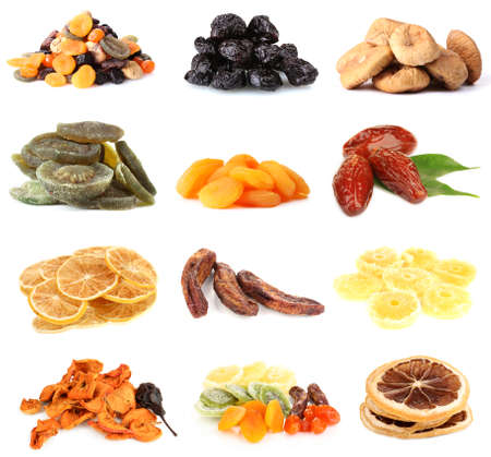 Collage of dried fruits isolated on white photo