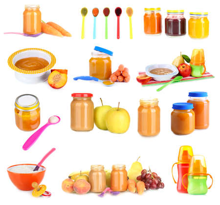 Baby food collage isolated on white photo