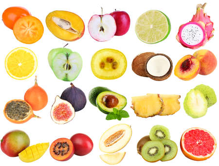 Collage of fresh fruits isolated on white photo