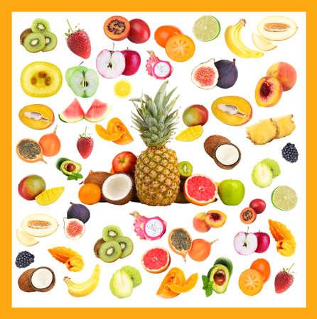 tamarillo: Collage of fresh fruits isolated on white Stock Photo