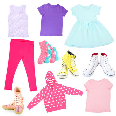 Collage of kids clothing isolated on white photo