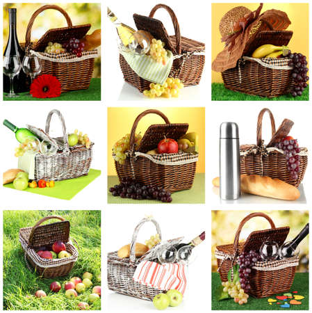Collage of picnic baskets close-up photo