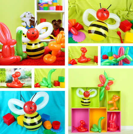 Collage of simple balloon animals photo