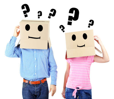 recognize: Couple with cardboard boxes on their heads isolated on white