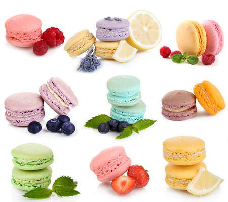 Collage of different gentle macaroons isolated on white photo