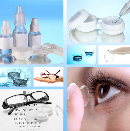 eye contact: Collage of equipment for good vision, close-up Stock Photo