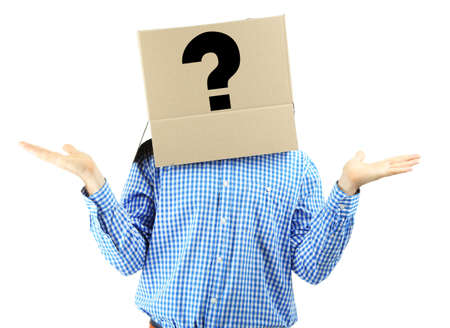 recognize: Man with cardboard box on his head isolated on white