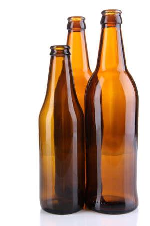 Glass bottles isolated on white photo