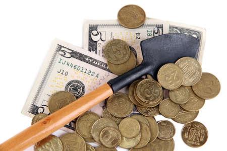 gold shovel: Money with shovel close up