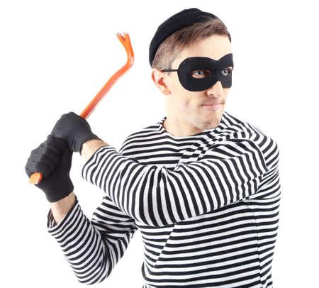 housebreaking: Thief isolated on white Stock Photo