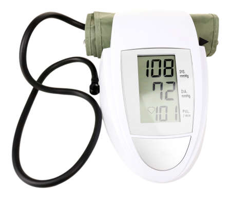Blood pressure monitor isolated on white Stock Photo