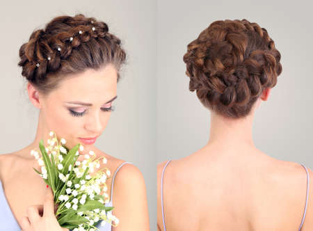 Collage of beautiful girl with luxury hairstyle on grey background photo