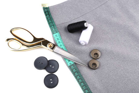 Business suit tailoring, isolated on white Stock Photo
