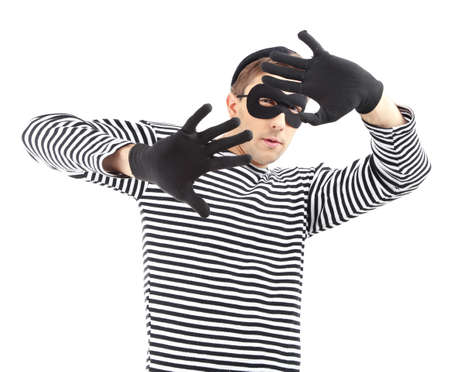crook: Thief isolated on white Stock Photo