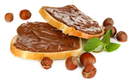Bread with sweet chocolate hazelnut spread isolated on white
