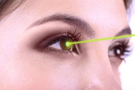 Ooglasercorrectie. De ogen van de vrouw. Stockfoto