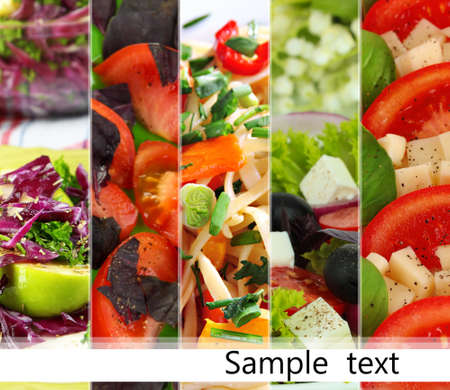 Collage of various salads photo