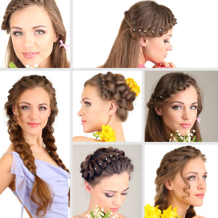 Collage of beautiful girl with different hairstyles photo