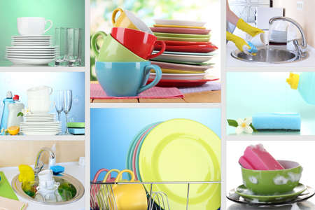 Collage of washing dishes close-up photo