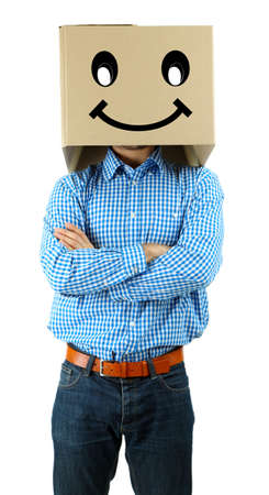 Man with cardboard box on his head isolated on white photo
