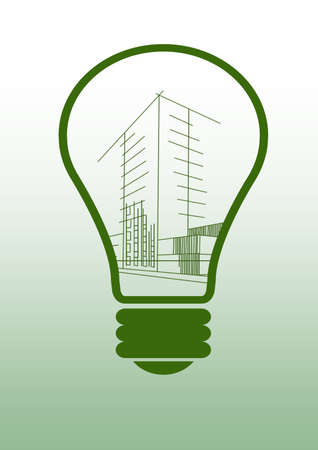 unfinished: Light bulb with house sketch project Stock Photo