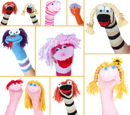 Collage of different funny sock puppets photo