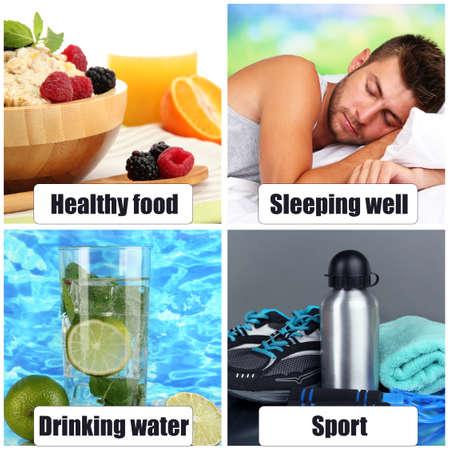 生活方式: 健康的生活方式的拼貼