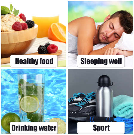 lifestyle: Collage of healthy lifestyle Stock Photo