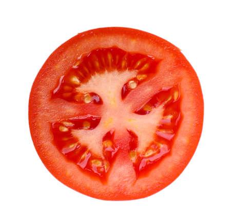 흰색에 신선한 토마토의 조각, 격리