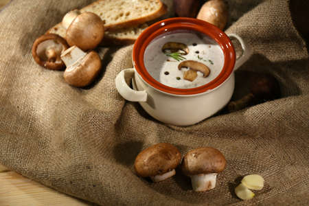 Mushroom soup in pot,on napkin,  on sackcloth background photo