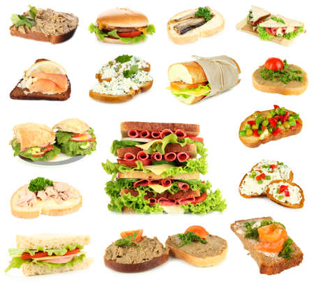 Tasty sandwiches isolated on white photo