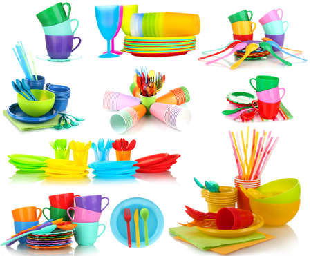 Bright plastic tableware isolated on  white photo