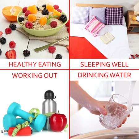 Collage of healthy lifestyle Stock Photo - 25873516