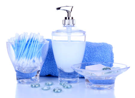 Bath accessories isolated on white photo