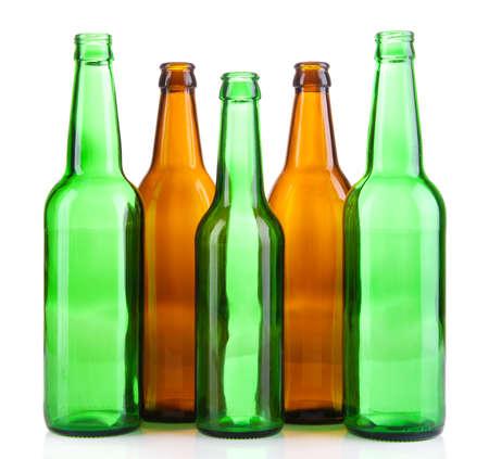 vitreous: Glass bottles isolated on white