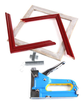 Construction Stapler And Wooden Frames Isolated On White Stock Photo ...