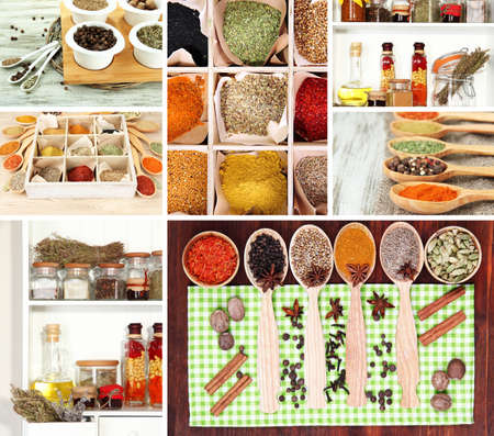Collage of different aroma spices photo